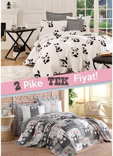 Eponj Home 2li Pike Çift Kişilik Panda + DuvardaKediler Beyaz